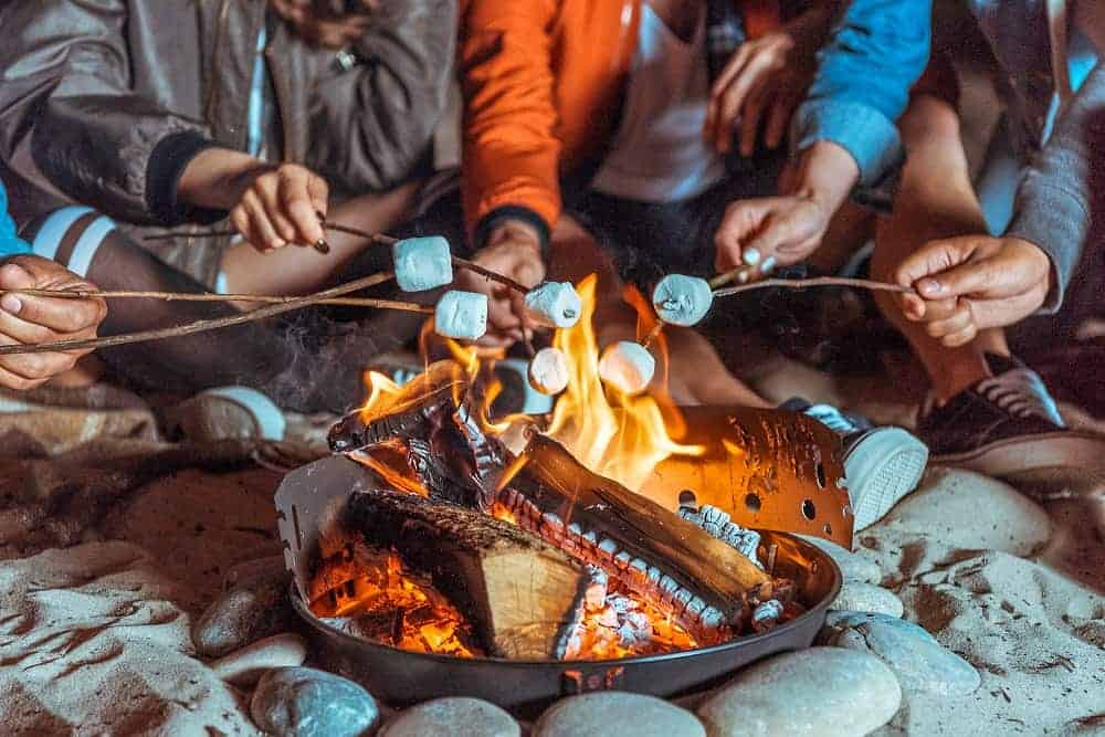several hands holding marshmallows over a campfire
