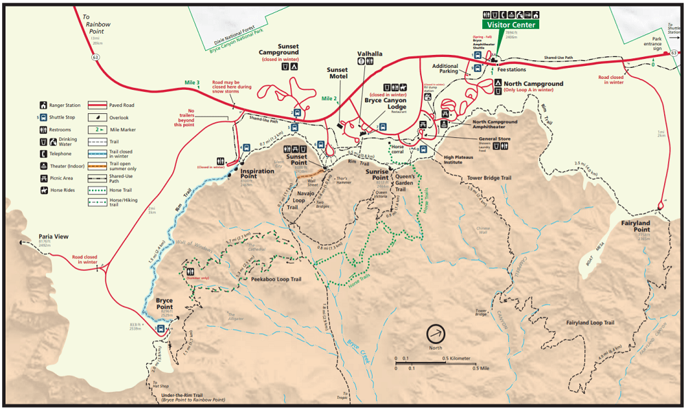 A map of the hiking trails for Bryce Canyon National Park