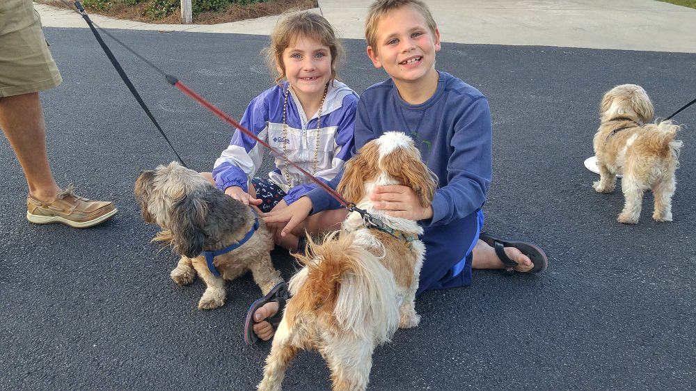 RVing With Dogs, the kids hanging out with their favorite furry friends