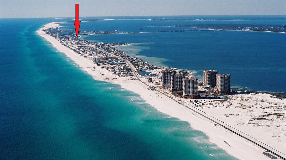 View Of Santa Rosa Island with Arrow to Pensacola Beach RV Resort