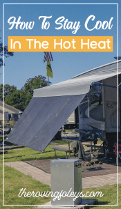 "Pin showing rv with awning ans says ""How to stay cool in the hot heat"""