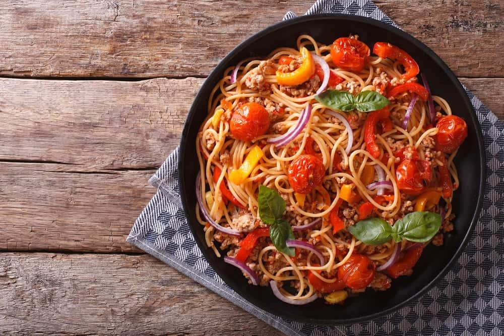 pan of spaghetti, RV meals
