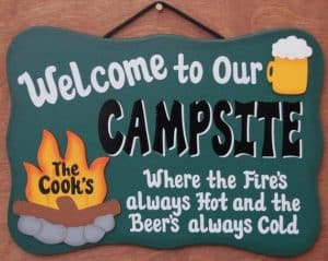 A wall sign to hang inside or outside your RV that says welcome to our campsite