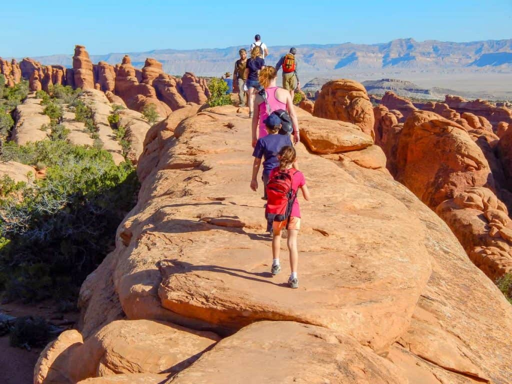 Hiking on fins, Devils Garden, Arches National Park