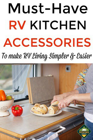 Woman cutting up bread in RV kitchen
