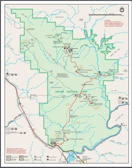 map of arches national park