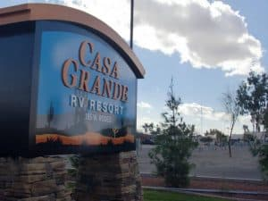entrance sigh for Casa Grande RV Resort Casa Grande Arizona
