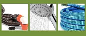 rv necessities photo of sewer hose, shower head, and water hose