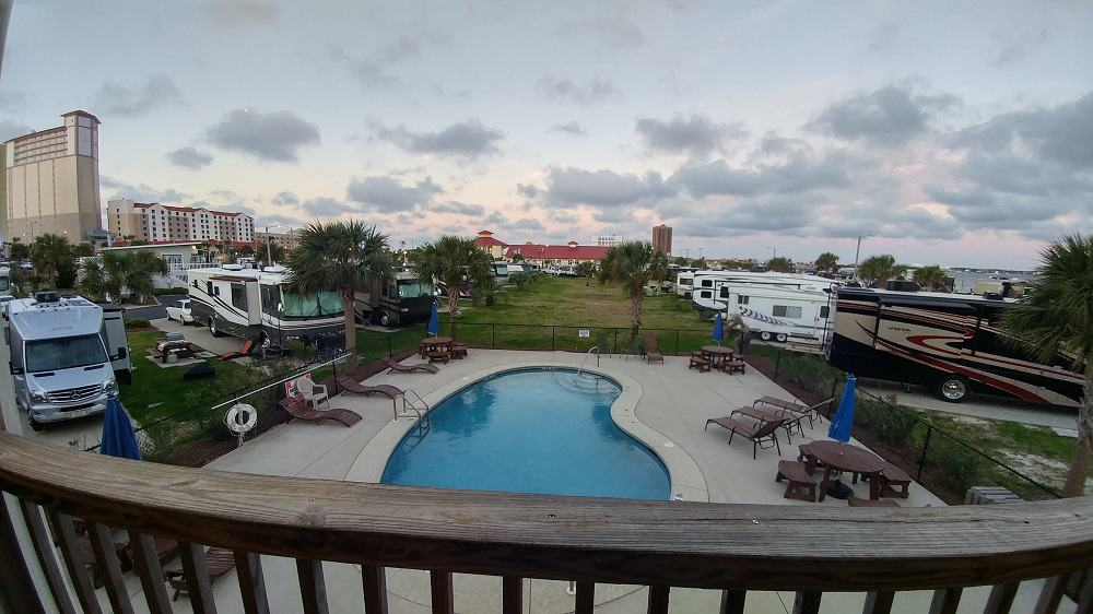 Looking at the pool at Pensacola RV Beach Campground