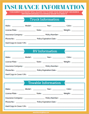 insurance information printable