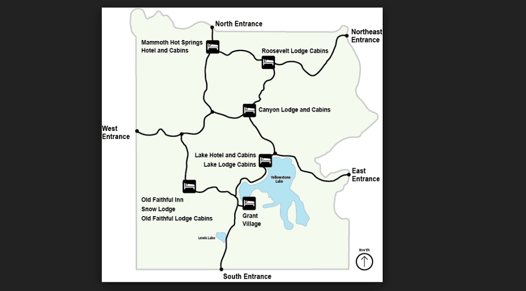 map of lodge locationa yellowstone national park