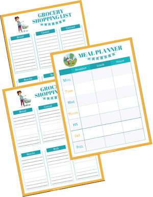 shopping list and menu planner printables