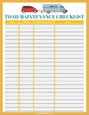 toad maintenance printable