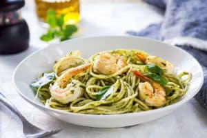 Easy shrimp scampi pesto the whole family will love