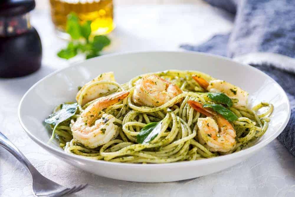 Easy shrimp scampi pesto the whole family will love