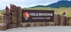 large entrance sign at Yellowstone National Park