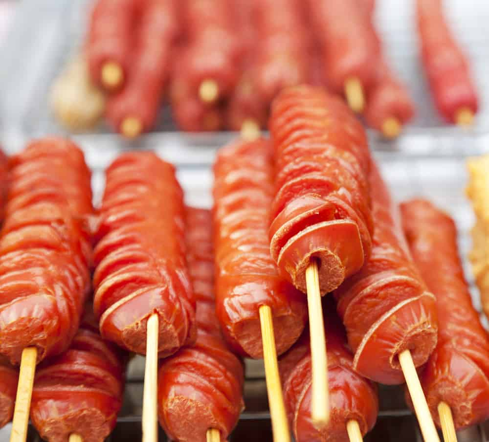 Hot dogs on a stick for campin