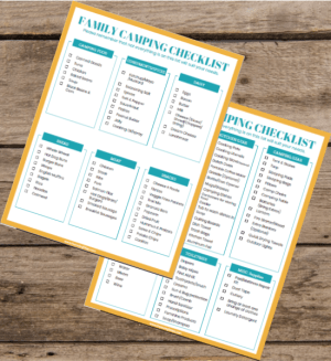 2 page family camping checklist on wood background