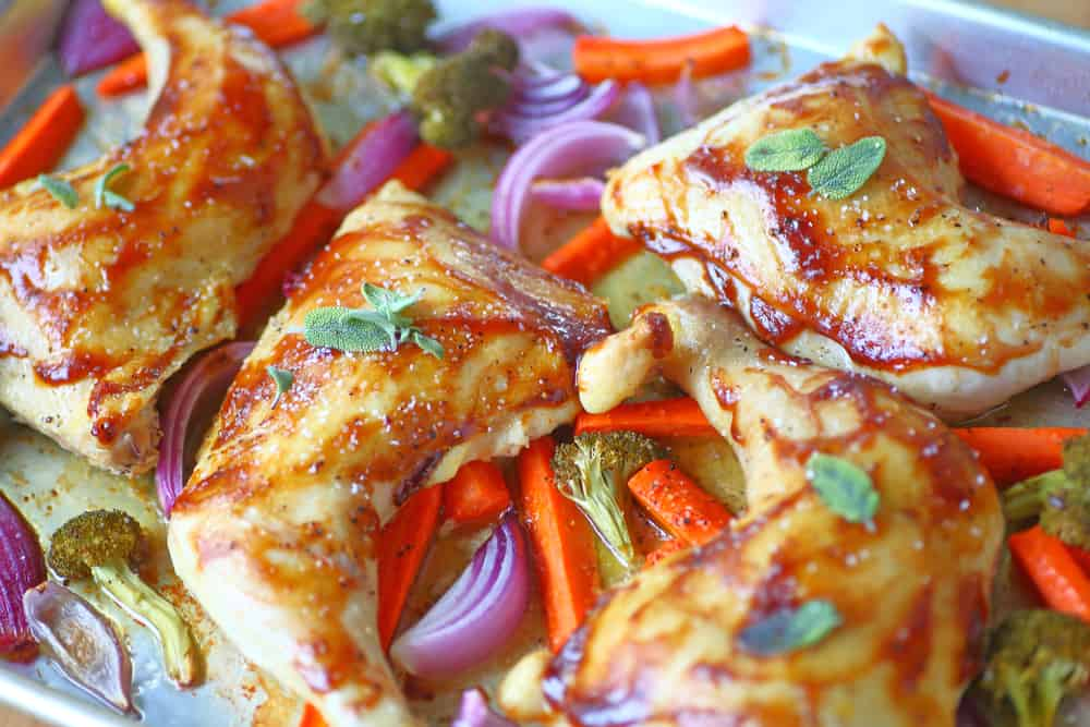 Chicken on a sheet pan with peppers, the perfect sheet pan recipe