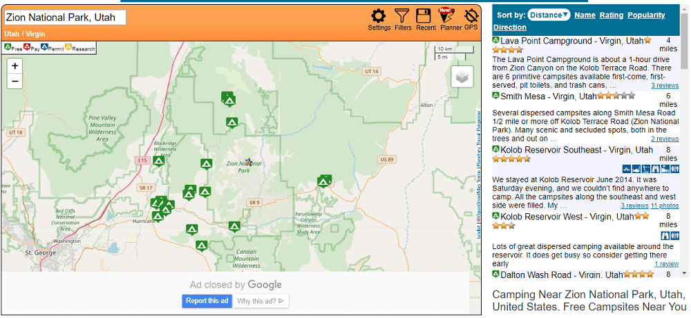 map of free camping sites near Zion NP
