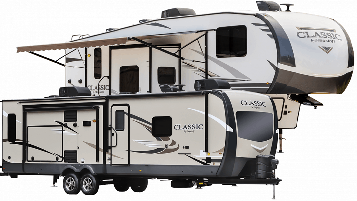 2020 Forest RIver Flagstaff Classic 5th wheel and travel trailer