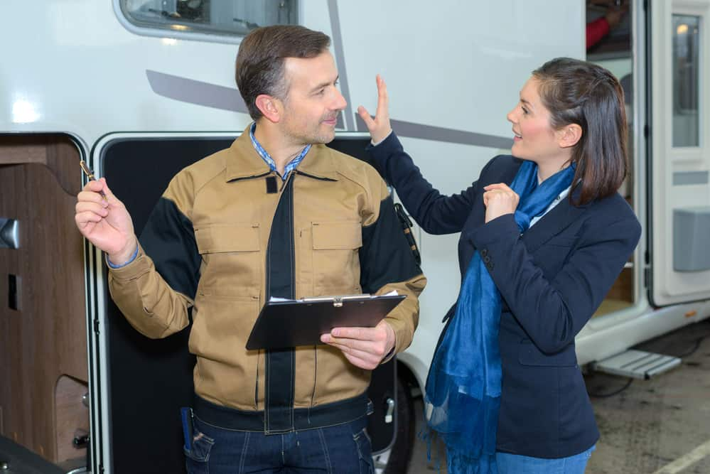 buying an rv for the first time salesman and woman
