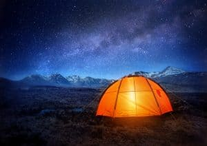 Camping at night with the sky so blue