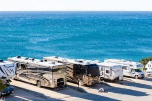 class a rvs on the beach