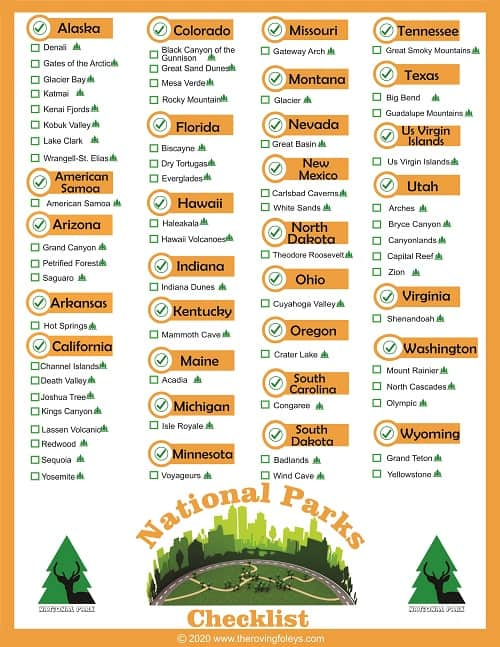 national parks checklist orange