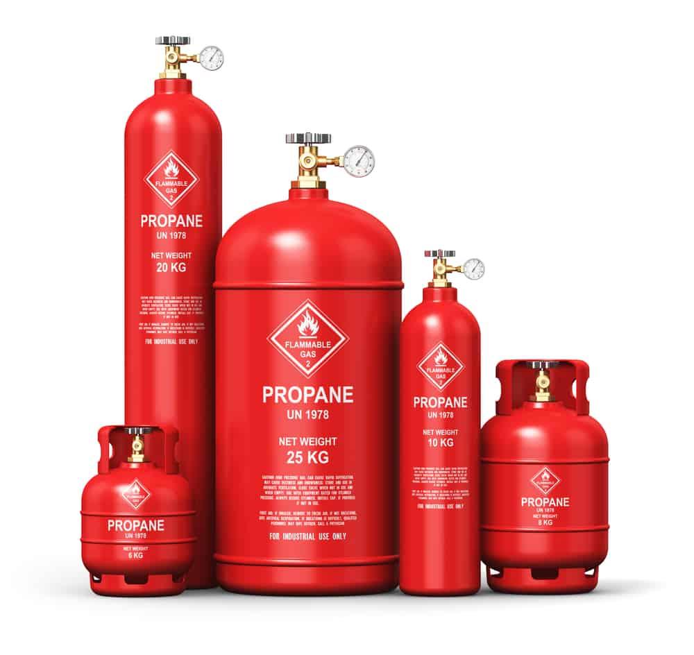 several sizes of propane tanks
