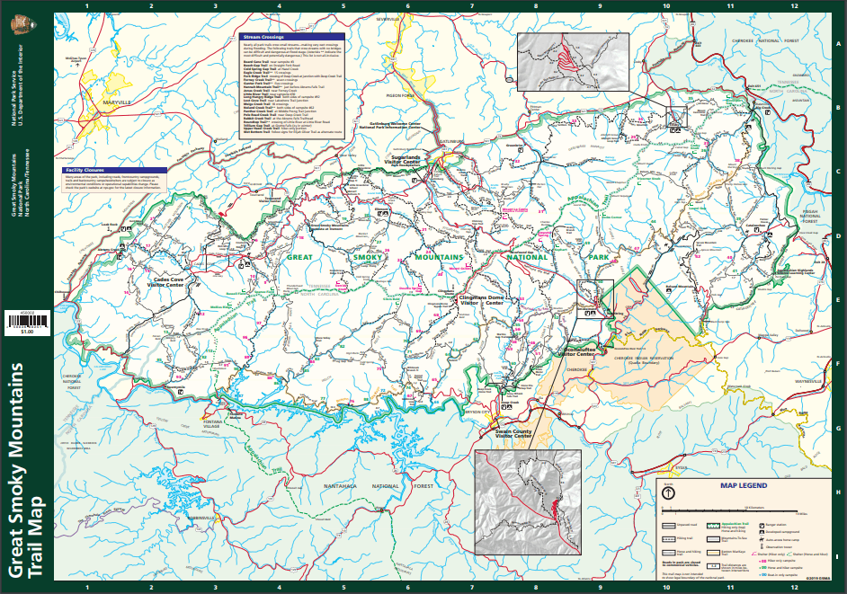 smoky mountains trail map
