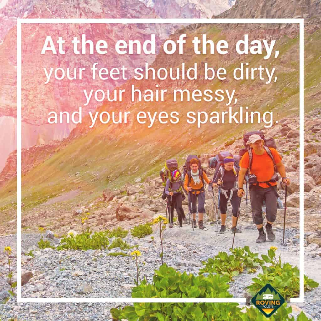 Words written over a group of hikers