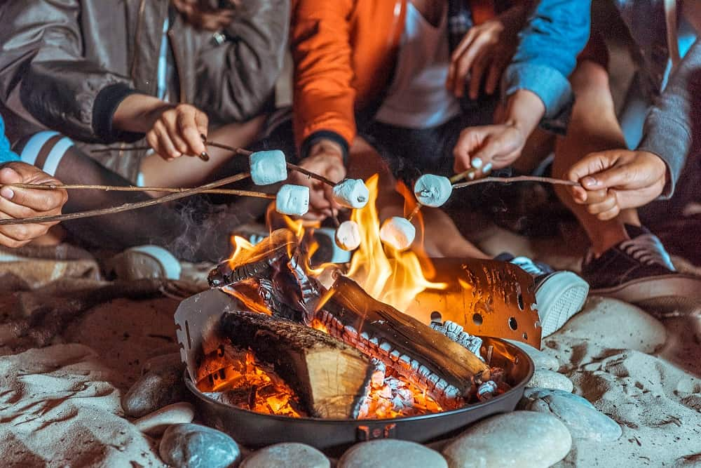 campers cooking marshmallows over an open fire