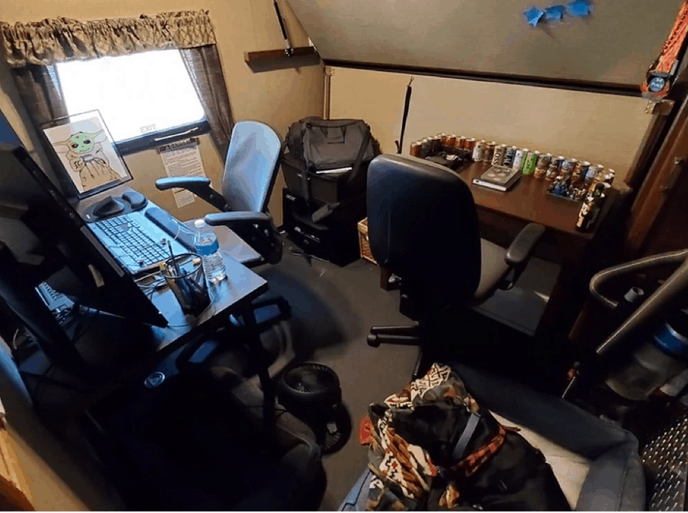rv desk area set up in an RV