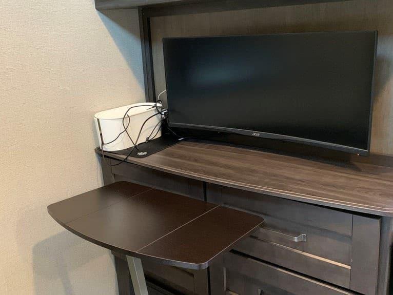 Office Desk set up in an RV
