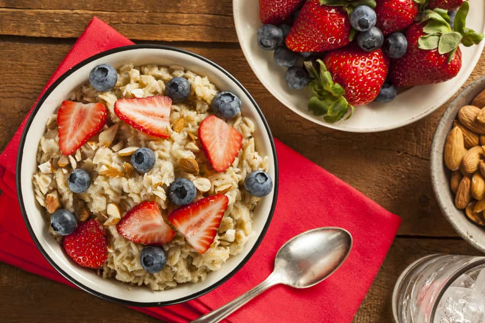 Healthy vegan oatmeal with strawberries