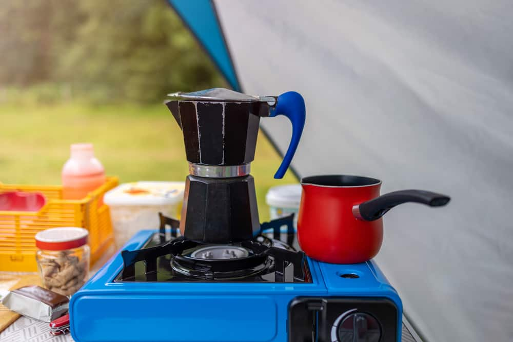 Coffee Percolator and cooking utensils for camping