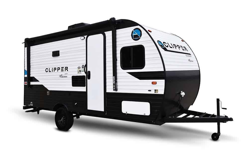 Black and white travel trailer