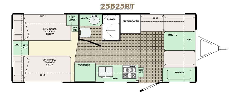 Floor plan of a travel trailer with beds