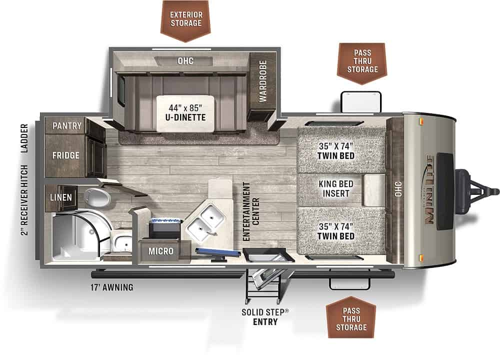 Floor plans for travel trailer with twin beds