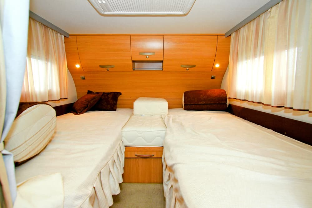 twin beds in a camper