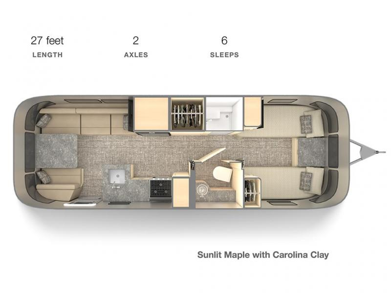 floor plan for an airstream with twin beds