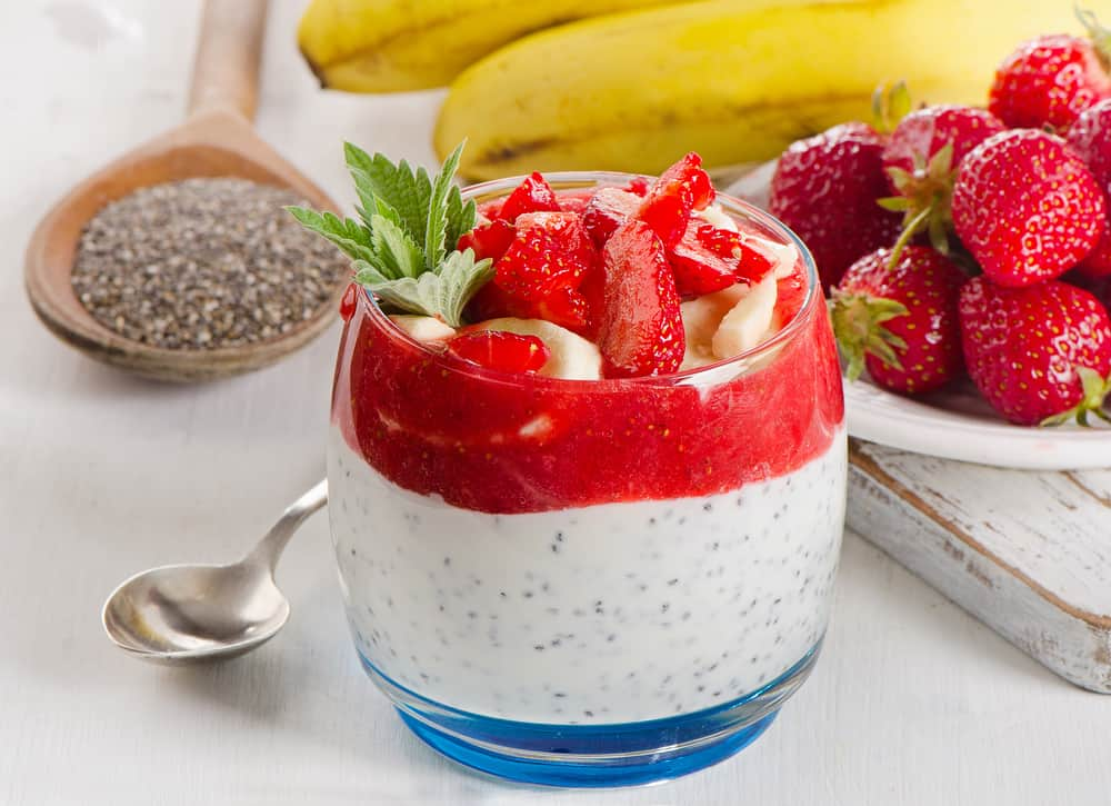 Chia seeds with fruit for breakfast