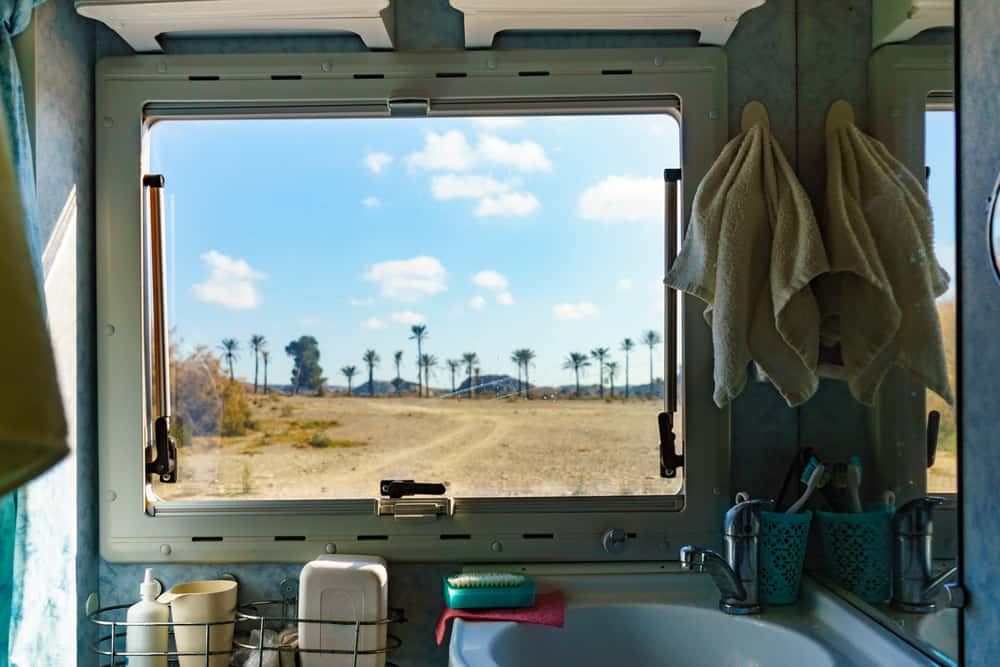 View from inside bathroom of campervan