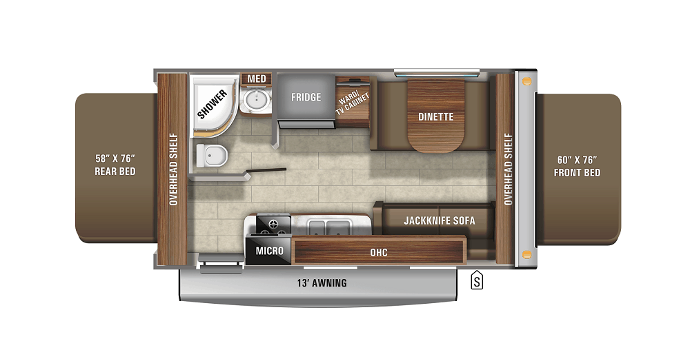 Floor plan for travel trailer with twin beds