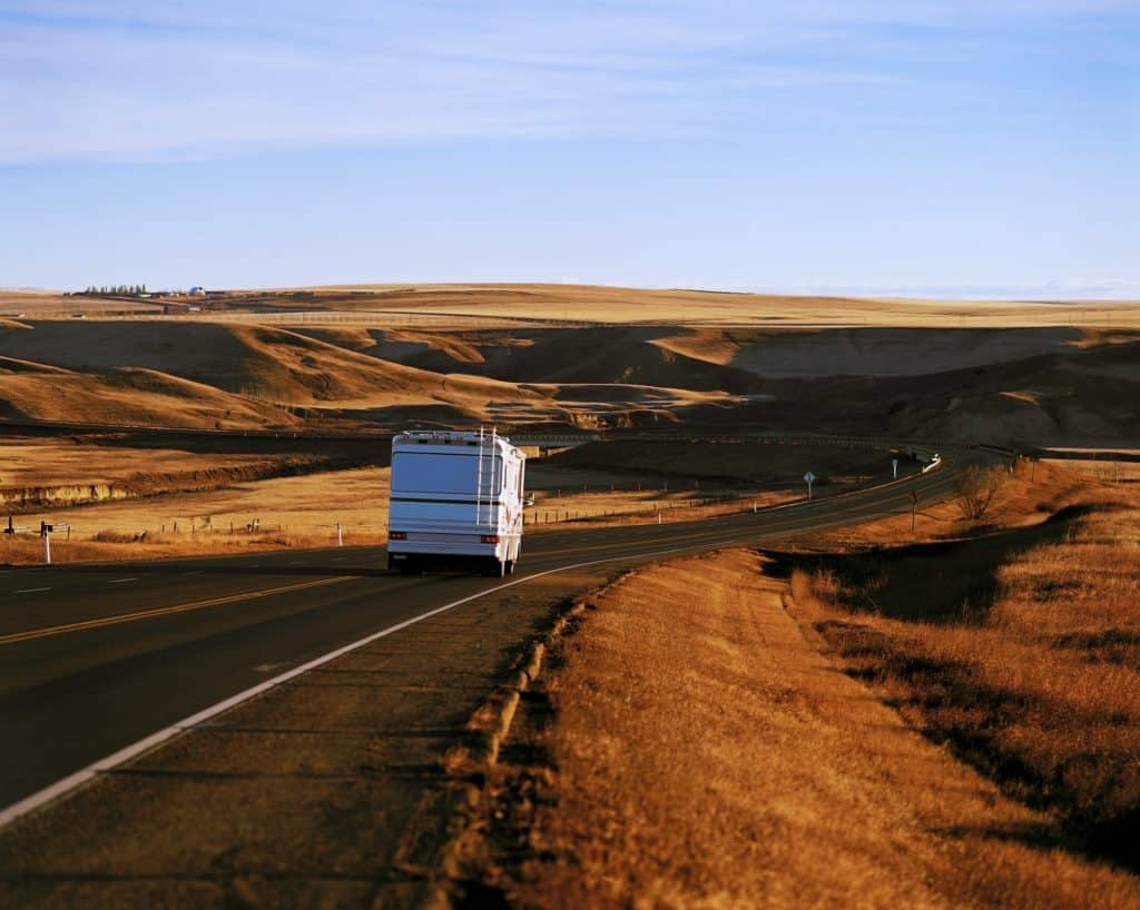 RV driving on an open road