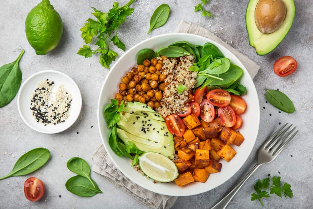 Vegan breakfast bowl with sweet potato, chickpeas and avocado