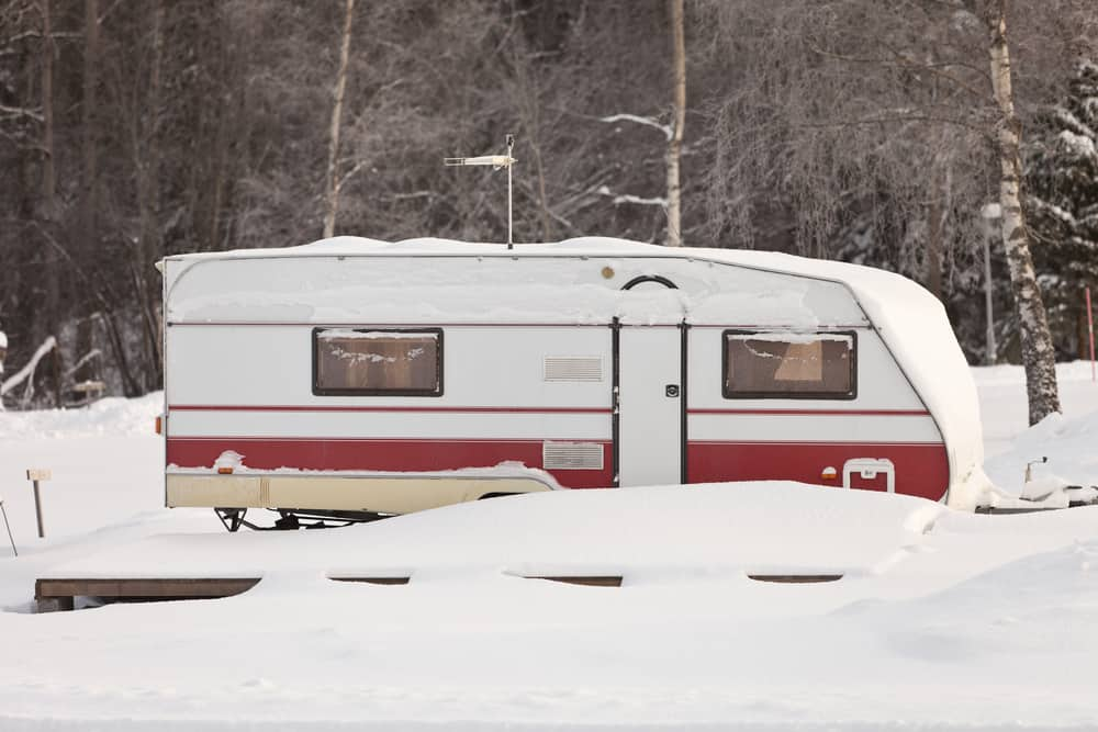 Mobile home in winter snow