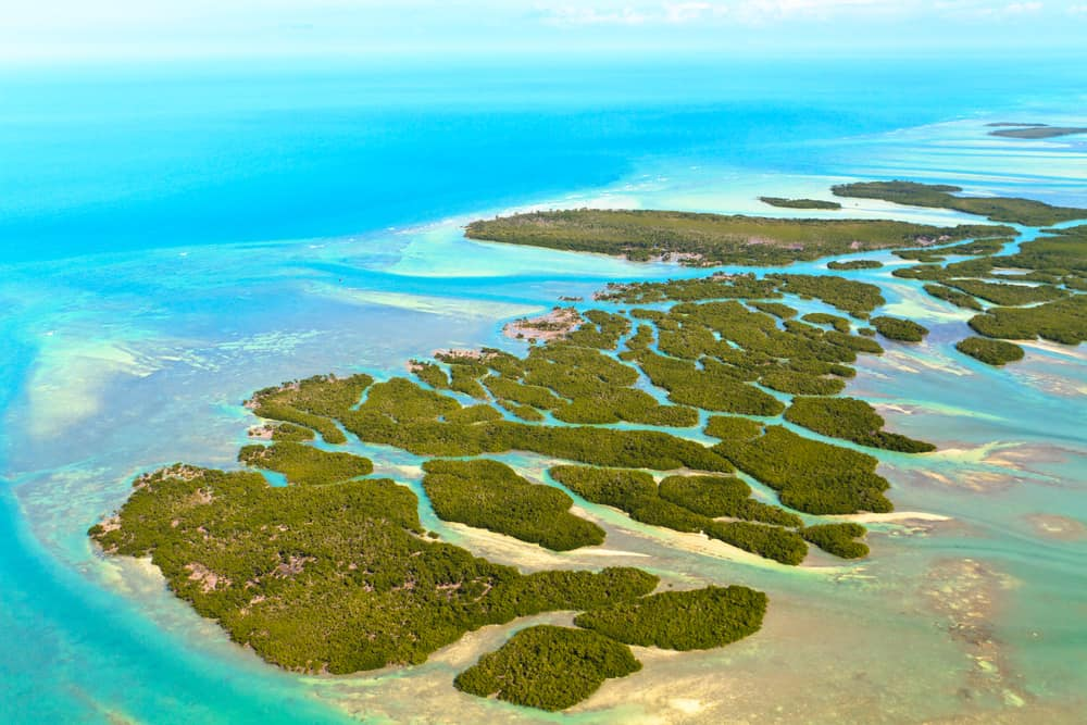 Aerial view of the Florida Keys Islands