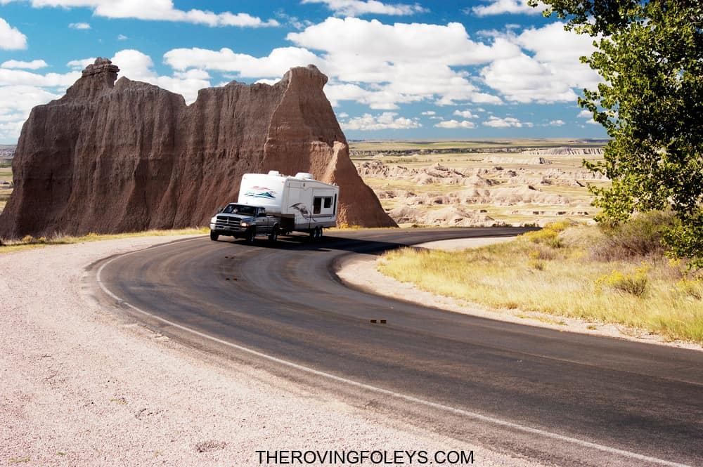 Truck hauling an RV across country